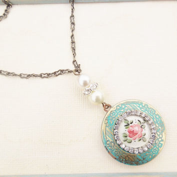 Verdigris Vintage Locket Necklace - Vintage Brass Verdigris and Guilloche Enamel Locket, Upcycled Repurposed Jewelry