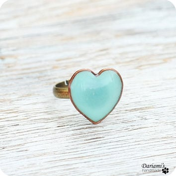 Cyber Monday Etsy-Ring - Mint green heart