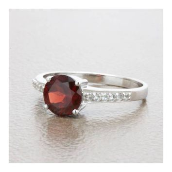 Natural Almandine Garnet And White Topaz Sterling Silver Solitaire Ring
