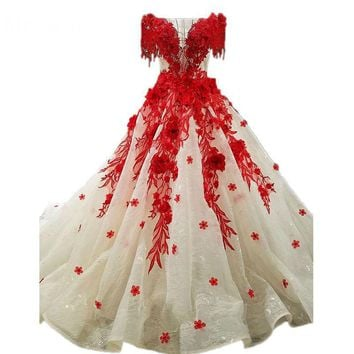 New Design Charming Contrast Color Sweep Train Dream Wedding Dress With Lace Appliques Crystal Beaded Red Bridal Gowns