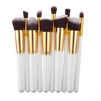 10 Pcs Silver/Golden Makeup Brushes Set