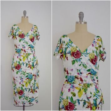Vintage Inspired 1950s Romantic Roses Wrap Effect Dress