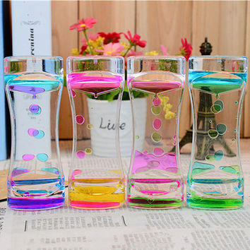 Floating Color Mix Illusion Timer Liquid Motion Visual Slim Liquid Oil Glass Hourglass Ornament Desk