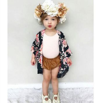 Children Summer Stylish Kids Toddler Girls Casual Clothes Long Sleeve Tassel Floral Print Adorable Cardigan Chiffon Coats