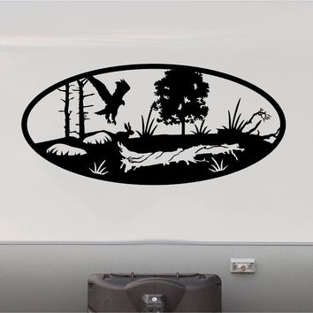Hawk Rabbit Hunting Mountains RV Camper 5th Wheel Motorhome Vinyl Decal Sticker Graphic Custom Text Mural
