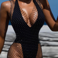 Black Fishnet Silver Rhinestone Cover Up Dress