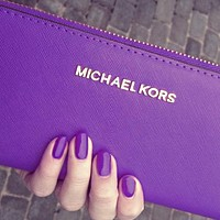 MK Michael Kors Women Leather Fashion Zipper Wallet Purse G-MYJSY-BB Purple