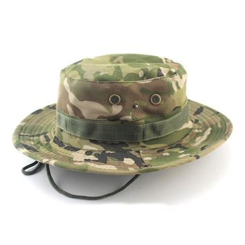 Women Men Casual Camouflage Bucket Hat With String Summer Fisherman Cap Military Panama Safari Boonie Outdoor Sun Hats Cap