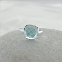 Aqua Quartz Ring - Sterling Silver Ring - Gemstone Jewelry -  Bezel Jewelry - 10mm Cushion Faceted #7018