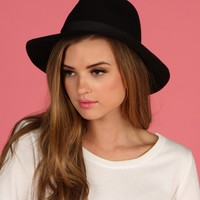 Black Wool Winter Panama Hat