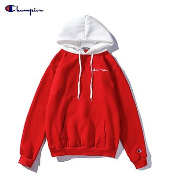 Champion couple autumn and winter color matching loose long sleeve casual hoodie red