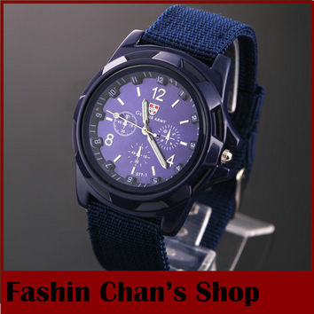 HOT 2014 top sale swiss blue/green/white sport army wrap watch men fabric band sport wristwatches free drop shipping
