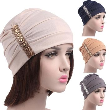 New Arrival Sequins Women Cancer Chemo Hat Beanie Scarf Turban Head Wrap Cap gorro feminino bonnet