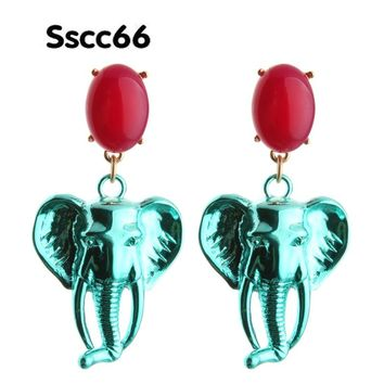 Sscc66 Natural Stone Drop Earrings Elephant Earring Lion Head Big Earring For Woman Large Long Brinco Ear Oorbellen Gift