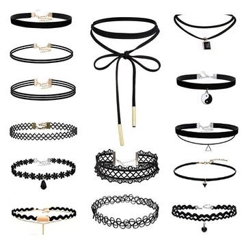 14 Pieces Choker Necklace Set Stretch Velvet Classic Gothic Tattoo Lace Choker