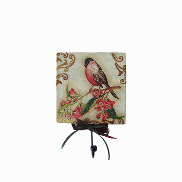 Decoupage Key holder. Wooden wall decorative hanger. Wall hanging with metal hook. Shabby chic home décor. Bullfinch Bird on branch.