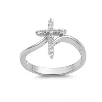 925 Sterling Silver CZ Cross Ring 15MM