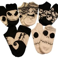 NIGHTMARE BEFORE CHRISTMAS Girls' Big Girls' Movie 5pk No Show Socks, Assorted, 9-11