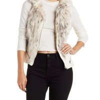 White Faux Fur & Leather Vest by Charlotte Russe