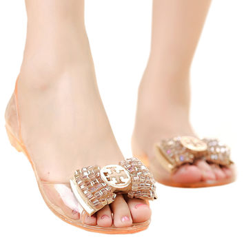 Beads Roman Flat Jelly Shoes Beach Peep-toe Sandals  champagne  35