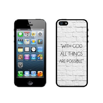 Quote - With God All Things Are Possible White Bricks iPhone 5 Case - For iPhone 5/5G - Designer TPU Case Verizon AT&T Sprint