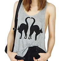 Sexy Cute Cat Printed Loose Fitting Tanks