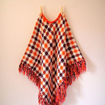 60's Mod Checkered Poncho. Orange. Fringe. Geometric. Retro. Hippie. Festival. Cape. One Size Fits All