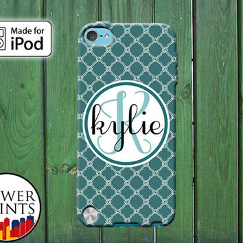 Teal Monogram Cursive Quatrefoil Pattern Tumblr Inspired Cute for iPod Touch 4th Generation and iPod Touch 5th Generation Gen Plastic Rubber
