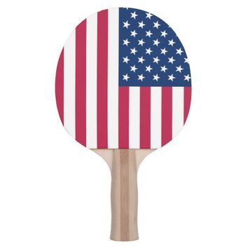 Patriotic, ping pong paddle with Flag of USA