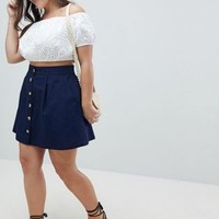 ASOS DESIGN Curve cotton mini skater skirt with button front at asos.com