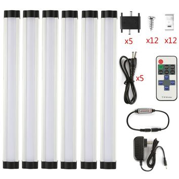 DMXY LED strip2835 12in/pcs*3W PC cover LED under cabinet DC12V dimmable IR Remote Controller 12V 2A Power Adapter led strip kit