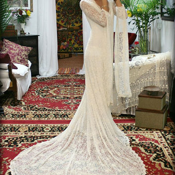 Embroidered French Lace Wedding Dress Bridal Gown With Train Bohemian Gypsy Wedding Wedding Gown Lace Bridal Gown Bohemian Wedding Dress