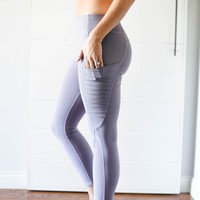 Lavender Mesh Side Pocket Leggings