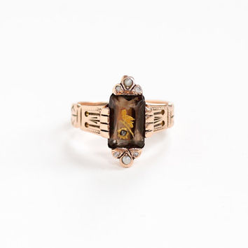 Antique Victorian 10k Rose Gold Smoky Quartz Bird Inlay, Seed Pearls, and Diamond Ring - Late 1800s Mizpah Betrothal Engagement Fine Jewelry