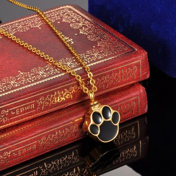 Gold Premiun Dog Paw Cremation Jewelry Keepsake Memorial Pet Ash Urn Necklace