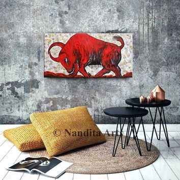 "Abstract Painting, Animal BULL WALL ART 48"" oil painting on canvas, Textured red Luxury looks bull wall art decor, Artwork Gifts -Nandita"