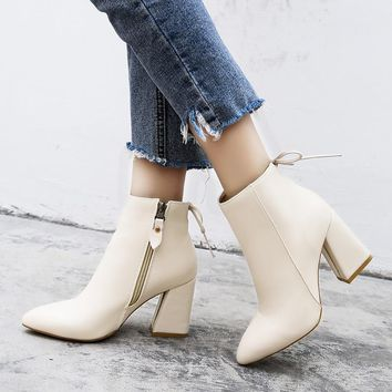 Women Ankle Boots High Heel Boots Fashion Block Heels Bow Short Boots Plus Size 35-39 2018 Spring Shoes Black beige