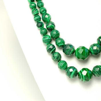 fall statement necklace chunky bead fall necklace multistrand green necklace graduated beaded green malachite necklace