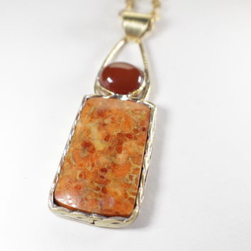 Apple Coral and Carnelian set in Brass Pendant