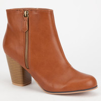Qupid Sake Womens Booties Cognac  In Sizes