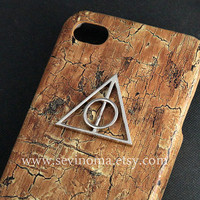 Deathly Hallows, harry potter Iphone Case, Iphone 4 Case, iphone 4s case, brown wood Hard Cas