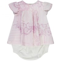 Young Versace Baby Girls Pink & White Stripe and Baroque Print Dress & Bloomer Set - Young Versace from Chocolate Clothing UK