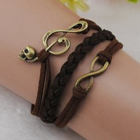 Music Infinity Antique Bronze Korea velvet Leather Charm Cute Bracelet
