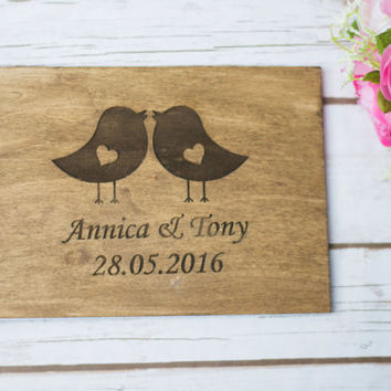 Wedding Guest Book Personalized Wooden Guest Book Love Birds Rustic Guestbook Custom Bride Groom Guestbook pen