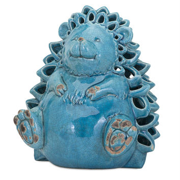 Delightful Hedgehog Ceramic Candleholder