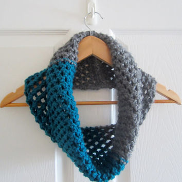 Chunky Knit Cowl - Soft Cowl - Color Block Cowl - Hand Knit Tube Scarf - Infinity Scarf - Grey Cowl - Teal Cowl - Acrylic Cowl - Neckwarmer