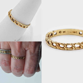 Vintage 10K Yellow Gold Band Ring, Openwork, Chain, Link, Stackable, Stacking, Filigree, Size 8 1/2, Wedding, Promise, Lovely! #b809