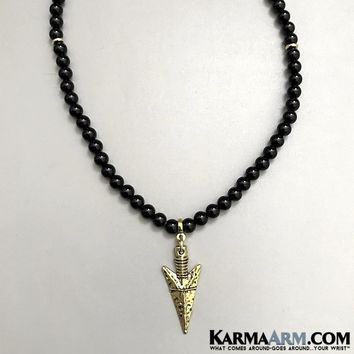 Necklace | Gold Arrowhead | Black Onyx | Reiki Healing Chakra Jewelry