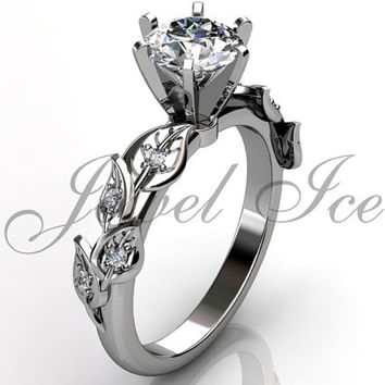 14k white gold diamond unusual unique floral engagement ring, bridal ring, wedding ring, anniversary ring ER-1112-1