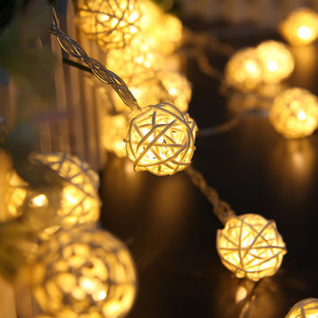 Neweat 2M LED String Lighting 20 LED Rattan Ball Holiday Christmas Lamp Wedding Party Curtain Decoration Light Lamps Battery Box